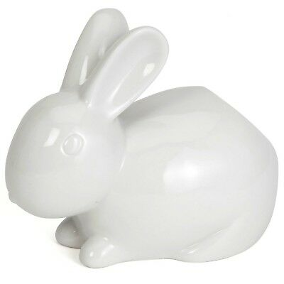 Bits and Pieces - Ceramic Bathroom Bunny Cotton Ball Holder - Cotton Tail Whi...