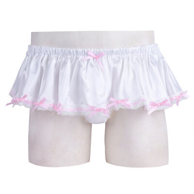Mens Soft Satin Skirted Panties Lace Sissy Pouch Bikini Thong Briefs Underwear