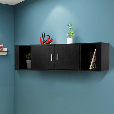 Wall Mounted Hanging Desk Hutch Floating Cabinet Storage Home Office  Organizer