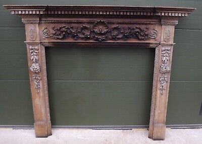 LARGE ANTIQUE GEORGIAN CARVED WOODEN FIRE SURROUND (h:147cm, w:175cm)