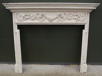 LARGE ANTIQUE GEORGIAN PAINTED CARVED WOODEN FIRE SURROUND (h:141cm, w:175.5cm)