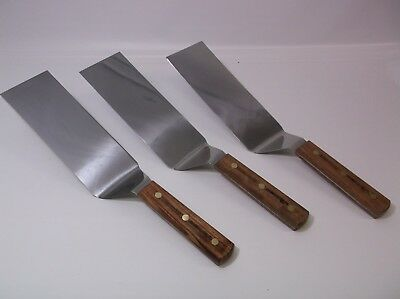 Lot of (3) Dex Russell S8698SQ Wood Handle 8x3 Dented Dinged Scratched Spatulas