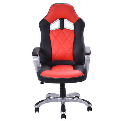 Red High Back Racing Bucket Seat Gaming Chair Seat Swivel Home Office Desk Task