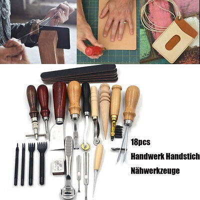 18x Leder Werkzeug Leather Stitching Craft Hand Sewing Stitching Groover Kit Set