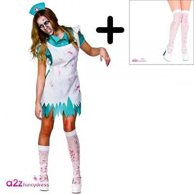 904869c65d51c Ladies Zombie Nurse COSTUME + PULL-UPS Adult Womens Halloween Fancy Dress  Outfit