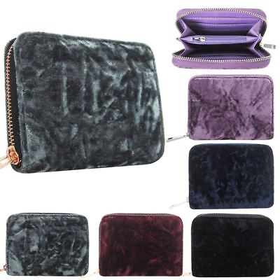 New Girls Ladies Crushed Velvet Small Zipped Purse Wallet