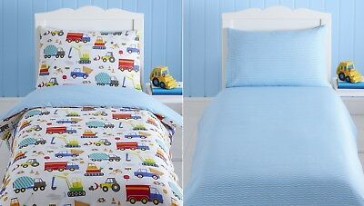 Bright Trucks Baby Boy Kids Toddler Junior Cot Bed Duvet Quilt Cover Bedding Set