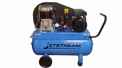 Jetstream 2HP 50Lt Single Stage Twin Cylinder Italian Built Air Compressor