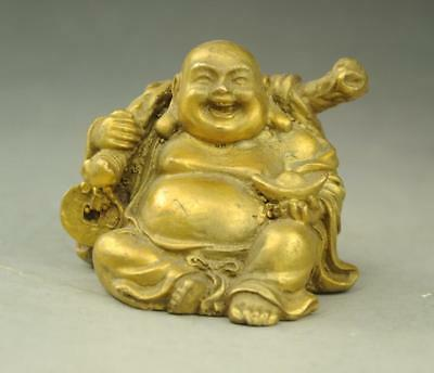chinese old buddhism copper wealth happy laugh Maitreya Buddha statue  MB