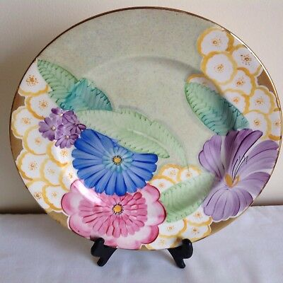 Art Deco Grays Pottery Hand Painted Enamels Flowers Charger Plate