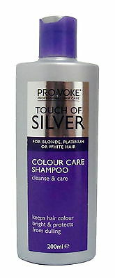 3x Provoke Touch Of Silver Colour Care Shampoo 200ml Blonde Platinum White Hair