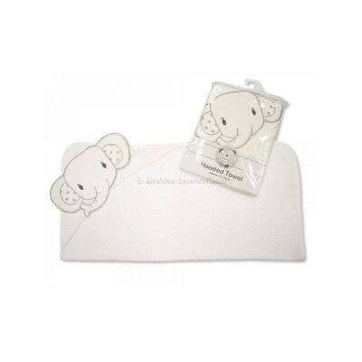 Baby Hooded Cotton White Towel - Elephant (75cm x 75cm)