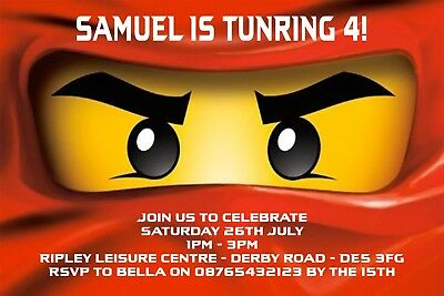 PERSONALISED LEGO NINJAGO Birthday Invitation Inc Envelopes BE3