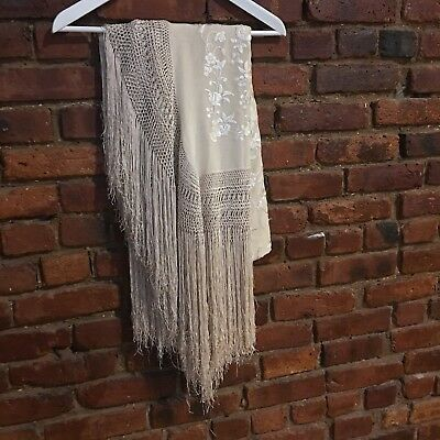 Vintage Embroidered Silk Piano Shawl Scarf