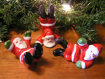 Set of 3 Old Antique Japan VINTAGE 1960s Playful CHRISTMAS SANTA Xmas Figures