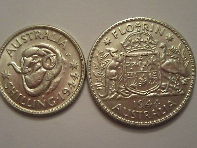 TWO 1944 Australia Silver Coins, great details, Florin & Shilling