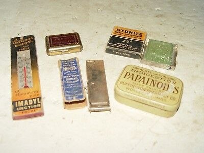 Estate Vintage Antique Lot Of 5 Assorted Advertising Items Thermometer Tins Etc