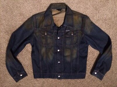 Mens Diesel Vintage Style Distressed Denim Jacket * Dark w/ Copper Wash * EUC *