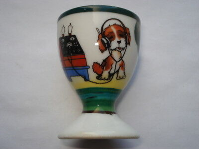 Scarce C1920S Vintage Dog Listening To Valve Radio Childrens Egg Cup