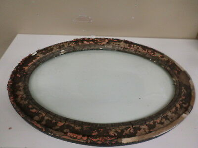 Antique Victorian Style Oval Curved Glass 23 1/2 x 17 1/2 Wood Gesso Frame