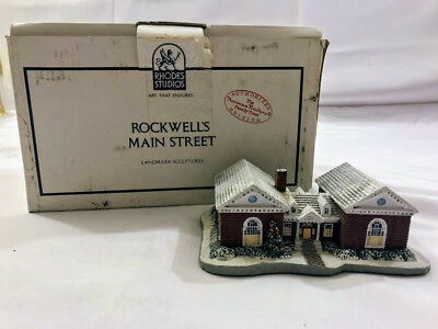 1989 Norman Rockwell Main Street Series The Library Building Landmark Sculpture