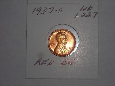 1937-S  Lincoln Cent  - Wheat Penny  -  RED BU,  LOT L227