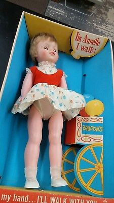 """Vintage EEGEE Doll Walking Annette 18"""" Tall Doll  in Original Box No. 7402"""