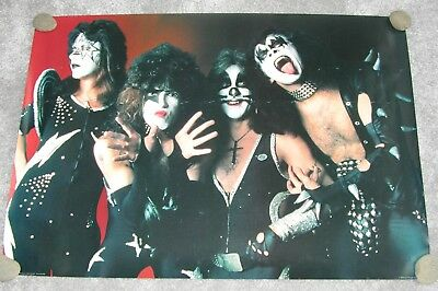Kiss Poster- 70's era - 34x24 -Made in England - Simmons, Stanley,Frehley,Criss