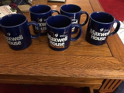 """5 Maxwell House """"Good to the last drop"""" Coffee Cup 3- Cobalt Blue/Gold - 2 blue"""