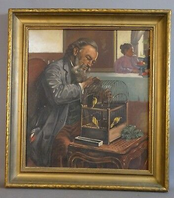Antique GENTLEMAN & VICTORIAN BIRD CAGE Old FINCHES Finch INDOOR PAINTING Frame