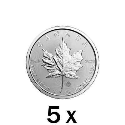 5 oz | 5 x 1 oz 2019 Silver Maple Leaf Coin - RCM .9999 Ag - Royal Canadian Mint