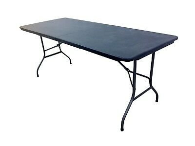 PAIR 2x HEAVY DUTY BLACK 1.8M FOLDING TABLE 6FT FOOT CATERING CAMPING TRESTLE