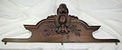 Antique Wooden Pediment: French Hand Carved Overdoor Oak Salvaged Architectural