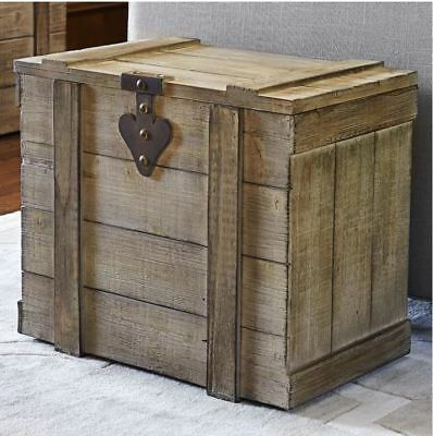 Antique Storage Trunk Vintage Wooden Chest Rustic Barn Wood End Table Nightstand