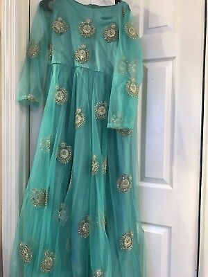 Cocktail Net Long Top Frock Mehendi Party Trendy Dress Maternity Kundan Work