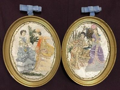 Pair of Antique Vintage Fabric/Ribbon Dolls Art Paper Fabric Victorian Women