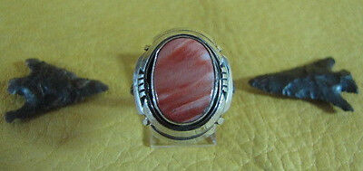 Vintage B Spiny Oyster Ring Split Band Incised Edge Sterling Size 8