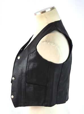 Vtg 90s UNIK Punk Moto Black Leather Sleeveless Jacket Vest Kids Childrens Sz M