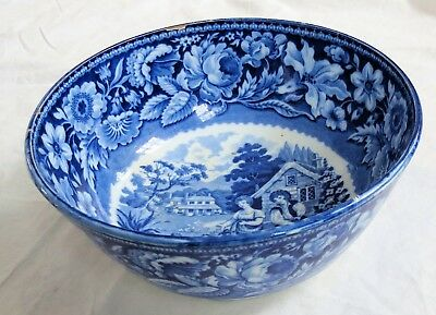 Flow Blue Transferware Pearlware Riley Bowl Feeding The Chickens Old Vtg Antique