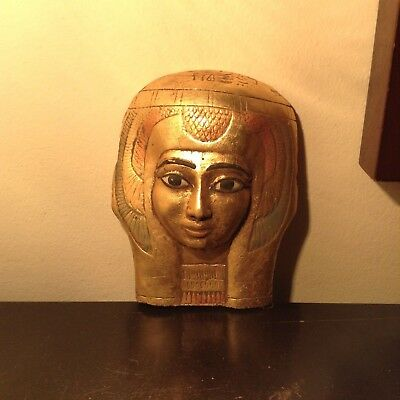 Rare Antique Ancient Egyptian Queen Nefertari Mask beauty water Gold 1279-1213BC