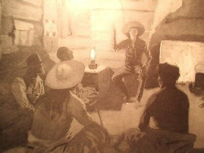 Antique Frederic Remington Lithograph Indian Soldier Fireplace 1897 MAKE OFFER