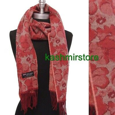 New 100% Cashmere Scarf Flower Pattern Soft Warm Wool Coral/beige