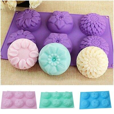 6 Cavity Flower Shaped Silicone DIY Handmade Soap Candle Cake Mold Supplies Set