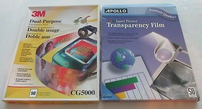 83 Sheets 3M CG5000 Dual Purpose & 37 Apollo Color CG7070 Transparency Film