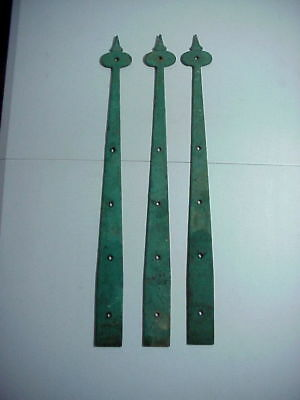 ANTIQUE Set of 3 ARTS AND CRAFTS Cast Iron Strap Hinge Extension DOOR PLATES