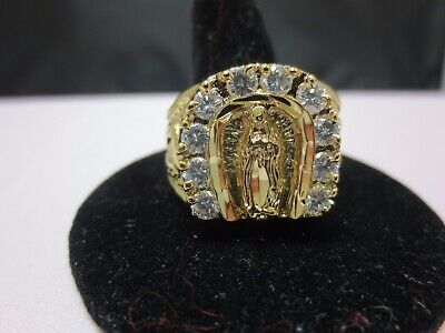 14 Kt Gold Plated Lucky Virgin Mary Religious Clear Cubic Zirconia Ring,sz 8-13