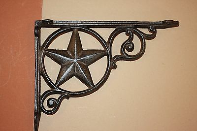 "Texas Lone Star Shelf Brackets, Rustic, Corbels 9"", CAST IRON, Texas Decor, B-19"