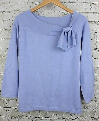 Sag Harbor Womens Sweater Top Blue Tie Boatneck Thin Knit 3/4 Sleeves Size Large