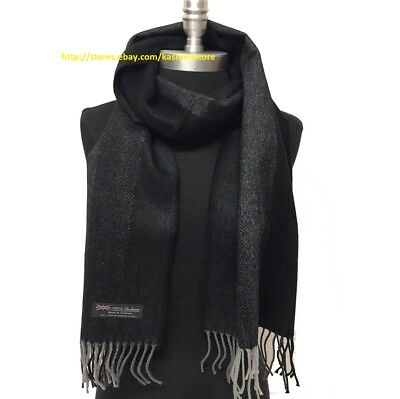 Men's Winter Scarf 100% Cashmere Tweed Stripe Grays Black SCOTLAND Wrap Shawl