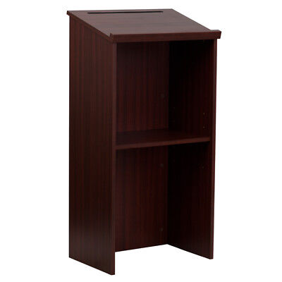 Mahogany Standup Lectern Host Pulpit Reservation Desk Stand Podium Speech Office